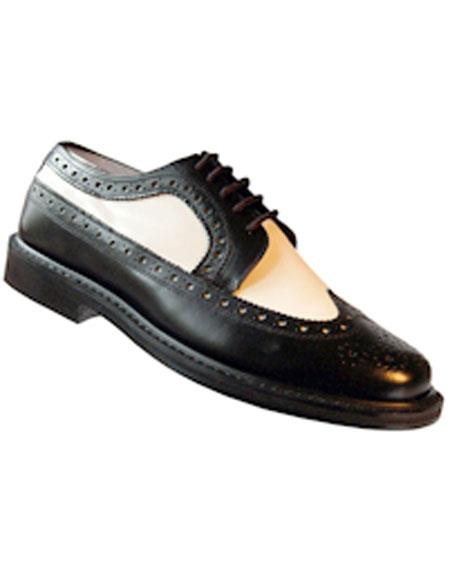 Men's Lace Up Black~White Thin Leather Sole Shoes