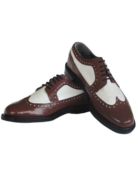 Mens Thine Leather sole 5 Eyelet Lacing Wingtip Brown~White Shoes