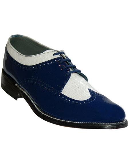 1950s Mens Shoes: Saddle Shoes, Boots, Greaser, Rockabilly Mens Cushion Insole Royal BlueWhite Wingtip Shoes $129.00 AT vintagedancer.com