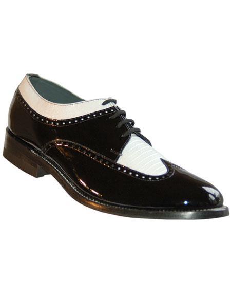Mens Genuine Pattern 4 Eyelet Lacing Black~White Shoes