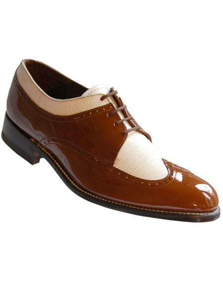1950s Mens Shoes: Saddle Shoes, Boots, Greaser, Rockabilly Mens Leather Sole Wingtip BrownWhite Shoes $129.00 AT vintagedancer.com