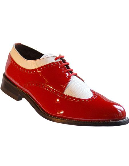 Mens Red And White Dress Shoes Leather