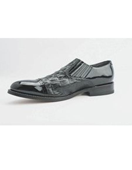 Mens Slip On Black Leather Cushion Insole Alligator Print Shoes