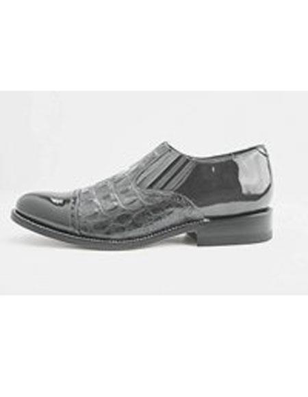 Men's Leather Sole Slip on Grey Alligator Print Cap Toe Shoes