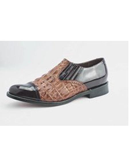 Mens Cushion Insole Slip On Wine Alligator Print Shoes