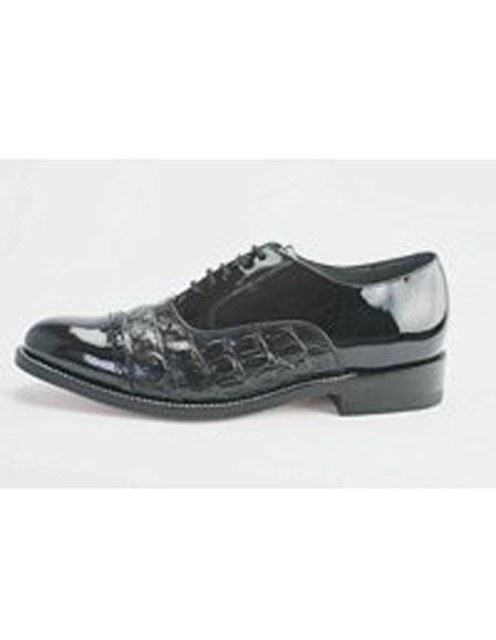 Men's Leather Horn Back 5 Eyelet Lacing Alligator Print Black Shoes