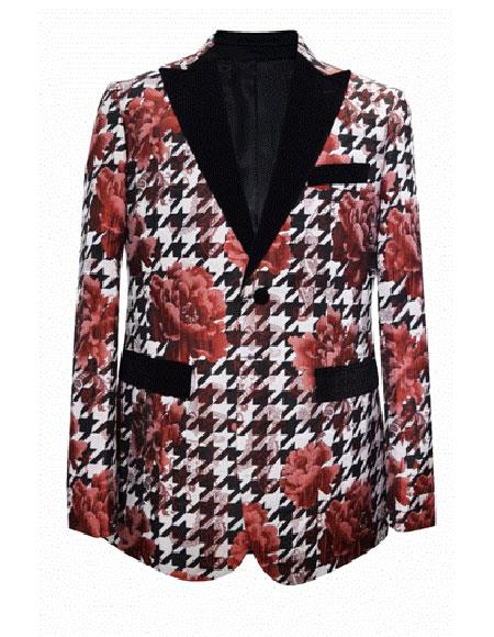 Floral  Flower Print Red White Novelty Holiday Men's Cheap Priced Blazer Jacket For Men Matching Fashion Bow Tie Crazy Sport Coat  Funny Dinner Christmas Jacket