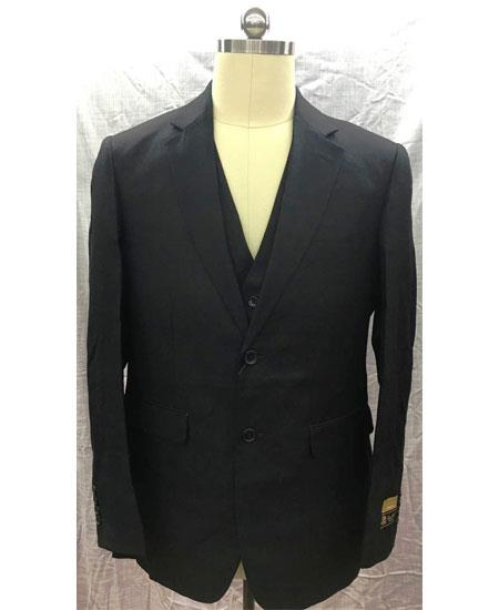 Men's Single Breasted 2 Button Black Linen Vest Suit