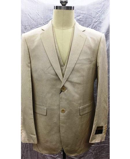 Men's 2 Button  Linen Vest Natural Suit
