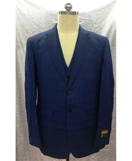 Mens Dark Navy Single Breasted Linen Vest 2 Button Suit
