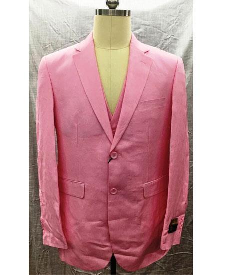 Mens Single Breasted Linen 2 Button Notch Lapel Pink Vest Suit