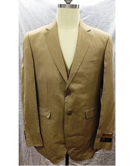 Mens 2 Button Single Breasted Linen Vest Suit Tan