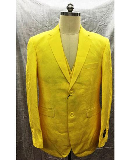 Mens Single Breasted Linen Yellow 2 Button Suit