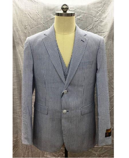 SKU#GD1856 Men's 2 Button Single Breasted Notch Lapel Blue Seersucker Suit $165