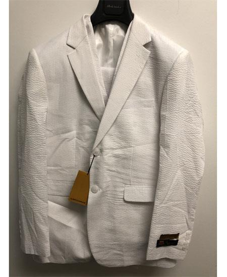 SKU#GD1858 Men's Single Breasted 2 Button Notch Lapel White Seersucker Suit  $165