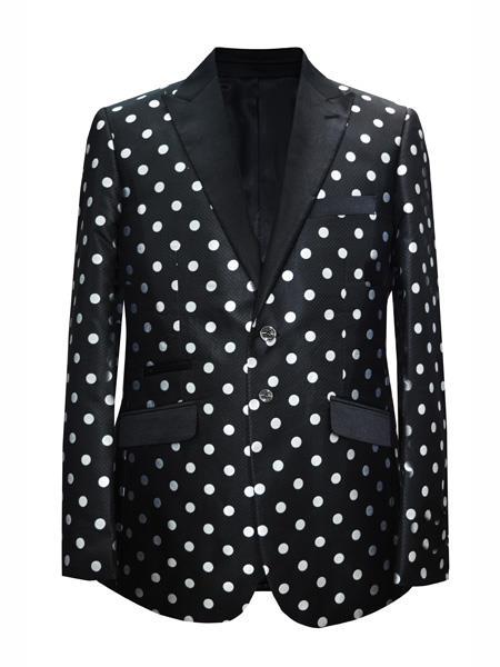 Mens 2 Button Dot Designed Black ~ White Sport coat Blazer