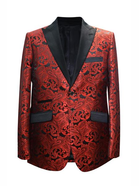 Mens 2 Button Paisley Designed Red Sport Coat Cheap Priced Blazer Jacket For Men Two Toned Tuxedo Mix With Black Dinner Jacket - Red Tuxedo