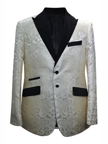 Mens 2 Button Paisley Designed Cream ~ Ivory Sport Coat Blazer Two Toned Tuxedo Mix With Black Dinner Jacket