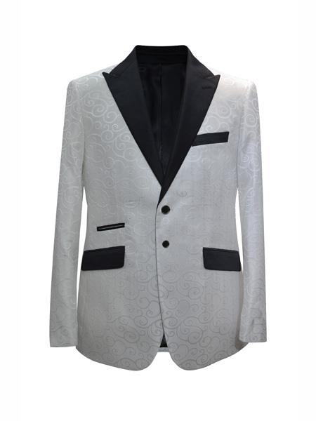 Mens 2 Button Fashion Designed White Sport Coat Blazer