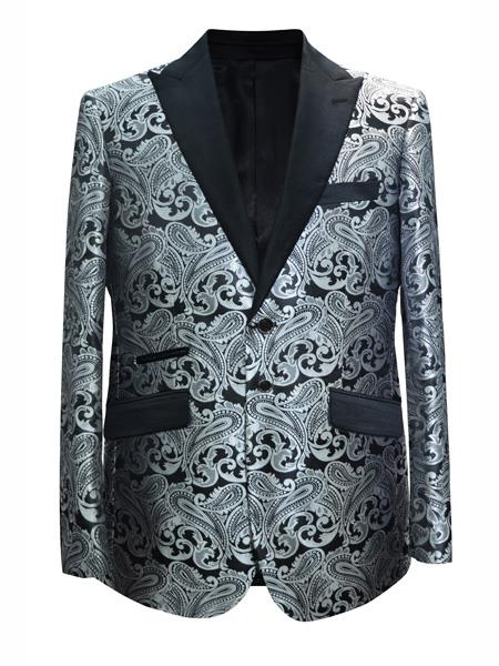 Mens 2 Button Paisley Designed Grey ~ Gray Silver Black / White Sport Coat Blazer Two Toned Tuxedo Mix With Black Dinner Jacket