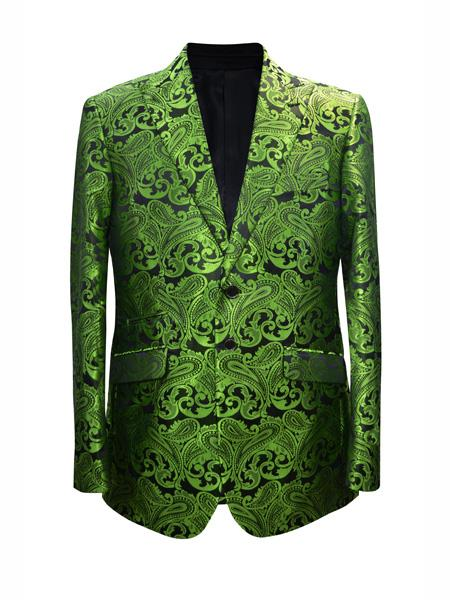 Mens 2 Button Paisley Designed Lime Sport Coat Blazer Two Toned Tuxedo Mix With Black Dinner Jacket