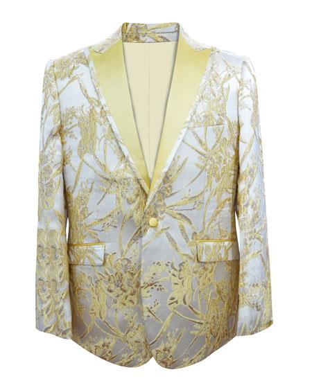 Alberto Nardoni Brand Mens Yellow ~ Champagne Fashion Paisley Floral White and Gold Tuxedo Sport Coat Blazer Bow Tie Included Free Matching Bowtie