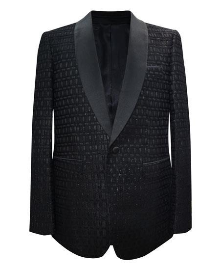 Alberto Nardoni Brand Men's Black 1 Button Cheap Priced Designer Fashion Dress Casual Blazer On Sale Matching Fashion Bow Tie Shawl Lapel Sport Coat Blazer Free Matching Bowtie
