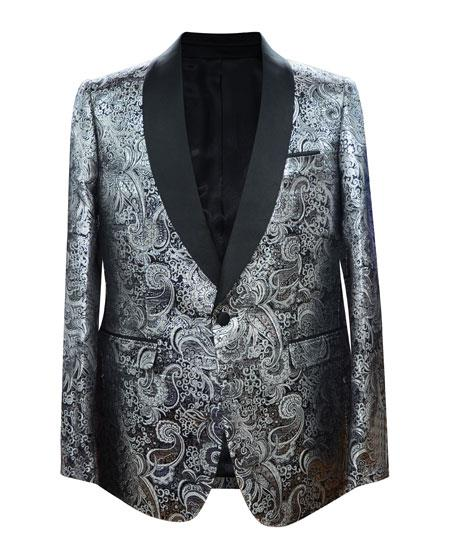 Men's Silver 1 Button Velvet Slim Fit Casual Blazer On Sale
