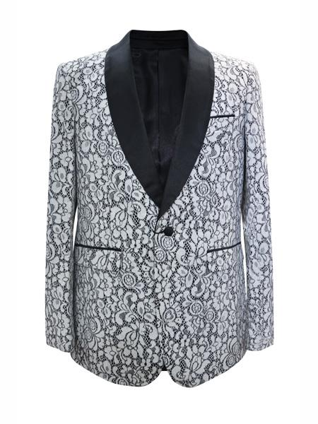 Alberto Nardoni Brand Men's One Button Floral Designed Shawl Lapel White Sport Coat Matching Fashion Bow Tie Blazer Free Matching Bowtie