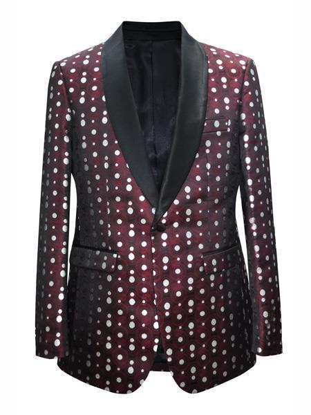 Alberto Nardoni Brand Mens polka dot pattern~ Fashion Prom / Fashion Matching Fashion Bow Tie Shawl Lapel Burgundy Sport Coat Blazer Free Matching Bowtie