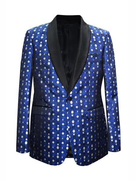 Mens Royal Fashion Shawl Lapel Matching Bow Tie  Sport Coat Blazer