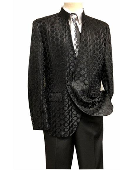 Men's Mandarin Collar Double Breasted Black Flap Front Pocket Suit