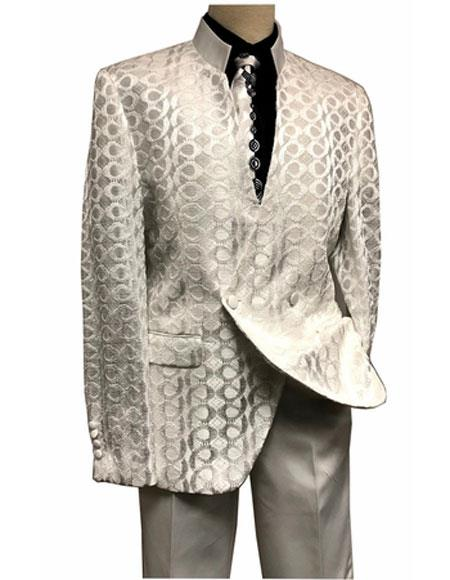 Mens Double Breasted Flat Front Pant Mandarin Collar Ivory Suit