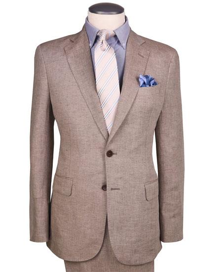Dark Tan Linen ~ Taupe ~ Khaki Suit