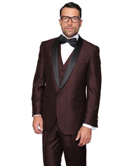 Men's Modern Fit 1 Button Shawl Lapel Dark Brown Dinner Jacket