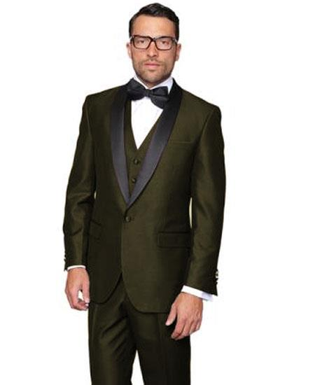 Men's Olive Green  1 Button Shawl Lapel Modern Fit Dinner Jacket