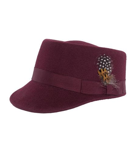 Mens Burgundy 100% Wool 5 Inches High Crown Hat