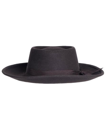 Victorian Men's Hats- Top Hats, Bowler, Gambler Mens Rounded Top 1 Wool 4 Inches High Crown Dark Brown Hat $59.00 AT vintagedancer.com