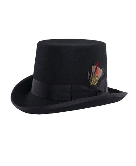 Men's Ferrecci Black 100% Wool Fully Lined Short Pilgrim Top Hat ~ Tuxedo Hat