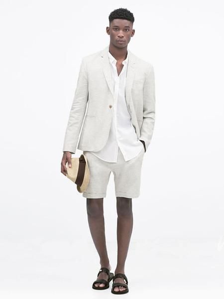 mens linen fabric summer business suits with shorts pants set (sport coat Looking) Ivory