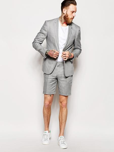 Mens Linen Fabric summer business suits with shorts pants set (sport coat Looking) Grey