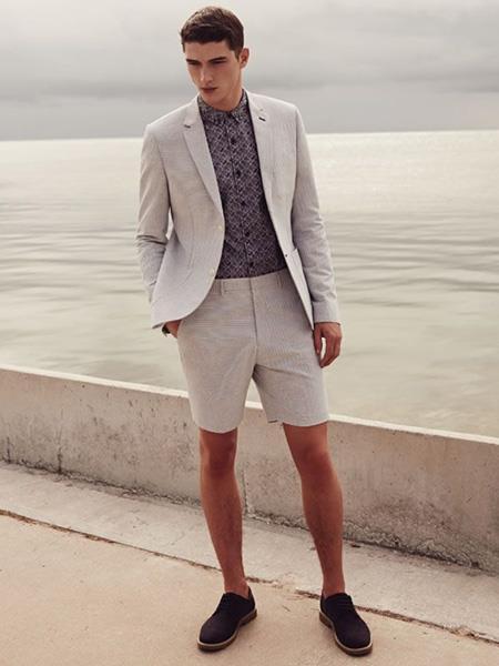 Men's Light Grey 2 Button Linen Fabric summer business suits