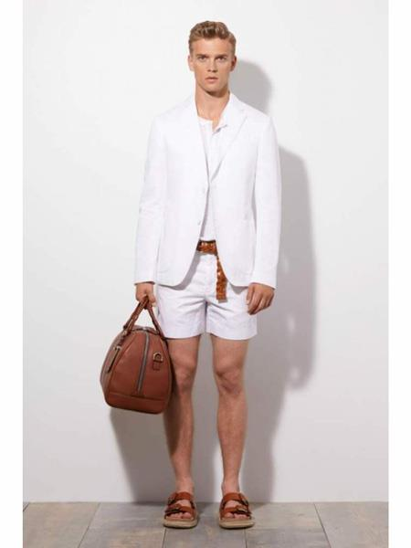 Mens Linen Fabric summer business suits with shorts pants set (sport coat Looking) Light
