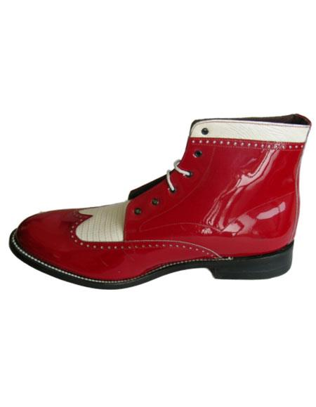 Leather Cap Toe Red ~ White Two Eyelet Lacing Mens Red