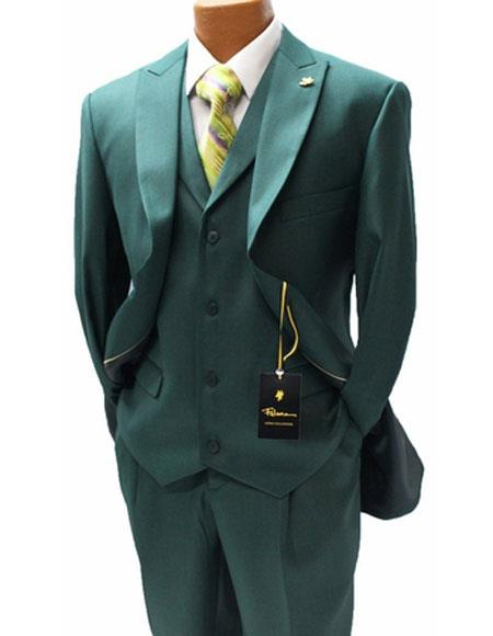 Buy 5306-103 Falcone Fashion Suit Mens Hunter ~ Olive Forest Antique Green Silky 3 Piece Pett Vest