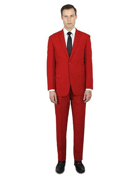 Red Classic Fit  2 ButtonProm Affordable Suit