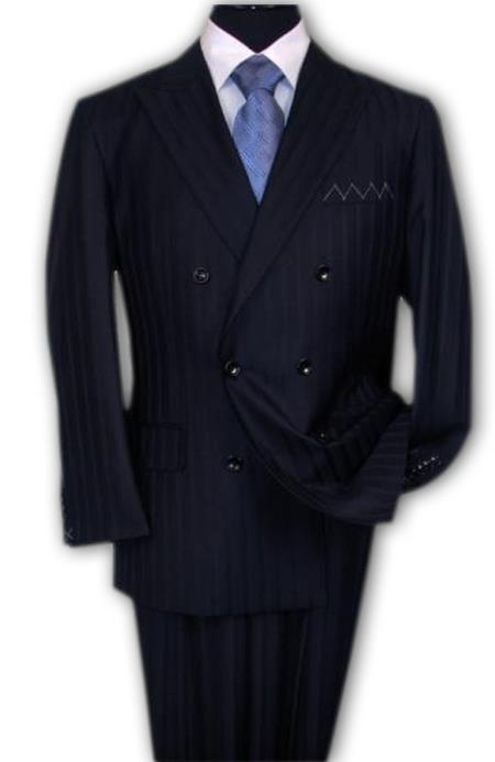 SKU#DB1 Mini Pinstripe Discounted Sale NAVY Blue Shadow Stripe Tone On Tone Double breasted Suit Super 150s Wool