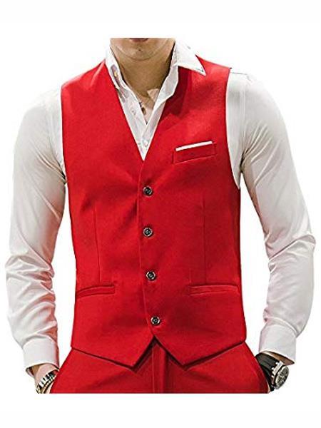 Men's Red Waistcoat Tuxedo Wedding Men's Vest