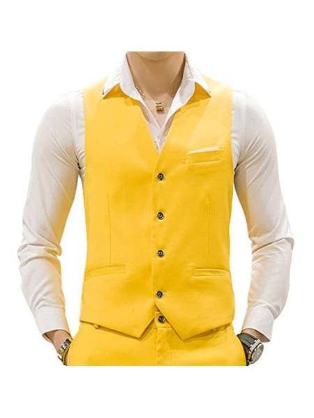 Mens Yellow Waistcoat Tuxedo Wedding Vest