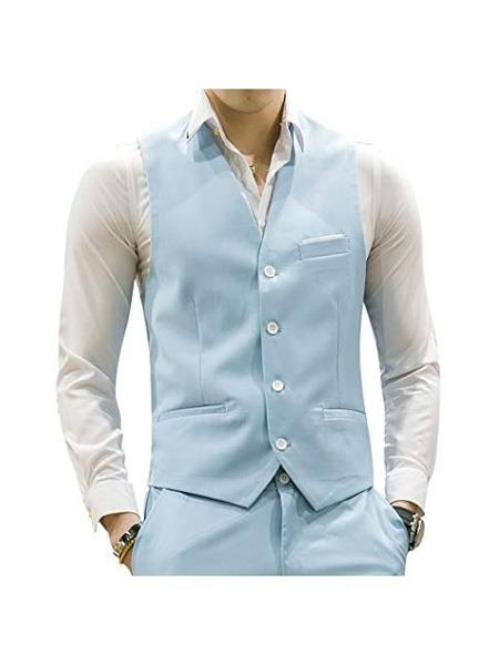 Mens Matching Waistcoat Causal Suit Dress Tuxedo Wedding Vest ~ Waistcoat ~ Waist coat & Pants Set  Package Light Blue